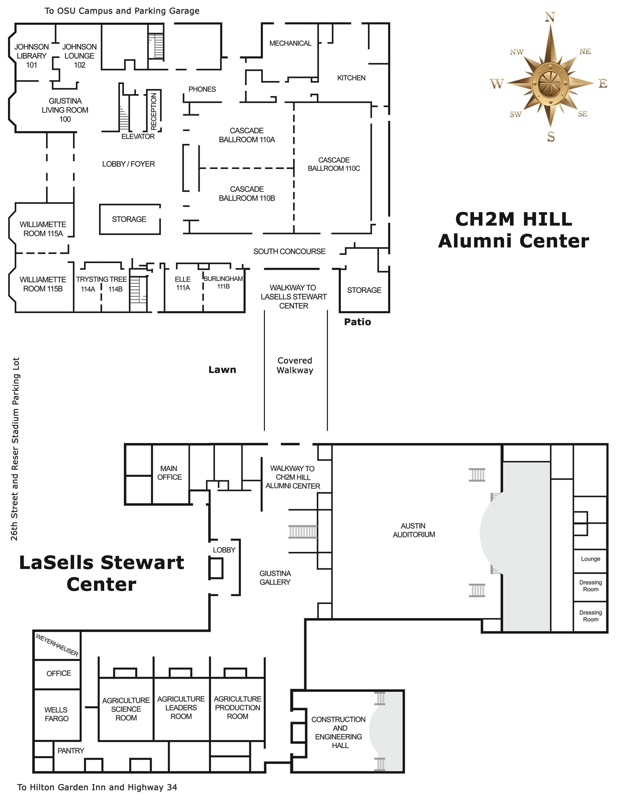 Schematic of The LaSells Stewart Center and Alumni Center
