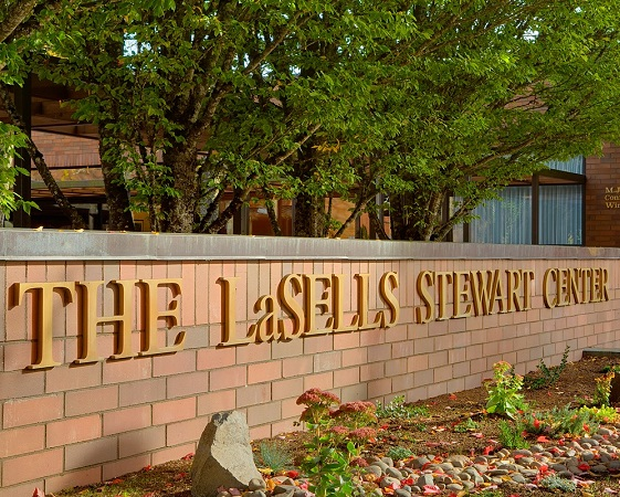 Facing The LaSells Stewart Center in summer