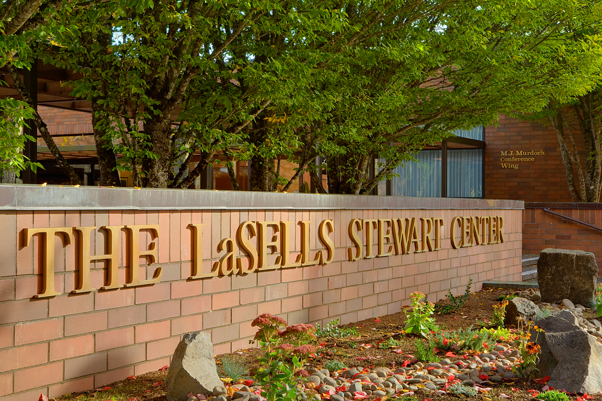 The outside of the LadSells Stewart Center