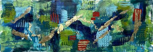 Cherrill Boissonou, Abstract with Gold, Mixed Media, $200