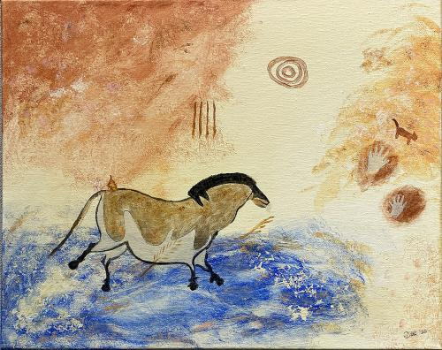 Diane Kinman, French Cave Drawing - Horse, Acrylic on Canvas, Not for Sale