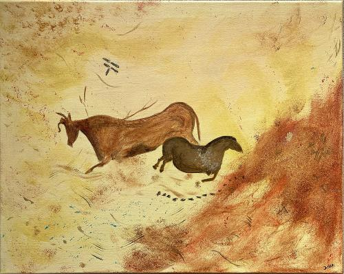 Diane Kinman, French Cave Drawing - The Cow and Horse, Acrylic on Canvas, Not for Sale