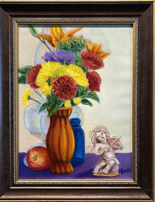 Fred Amos, Flowers with Muse , Oil, $225