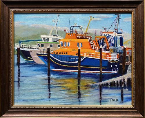 Fred Amos, Life Boat Castletownbere Ireland, Oil, $350