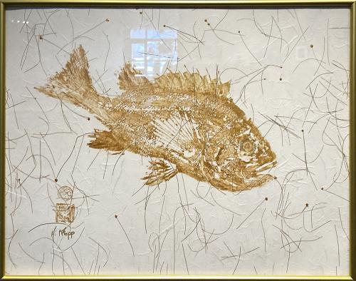 Helen Kropp, Golden Rockfish, Original Gyotaku Fish Print on Rice Paper, $200