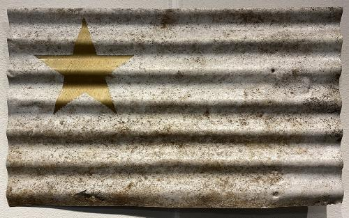 John Friedlander, In His Dreams, Gold Sharpie® on distressed white corrugated aluminum, not for sale