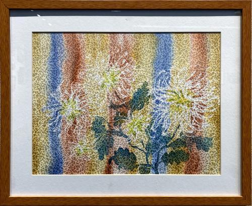 Jean Lawrence, Chinese Chrysanthemums, Dye Painting on Silk, $145
