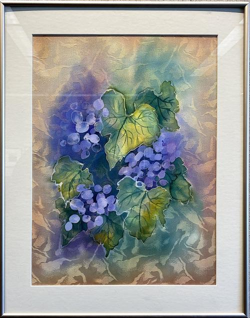 Jean Lawrence, Grapes, Dye Painting on Silk, $145