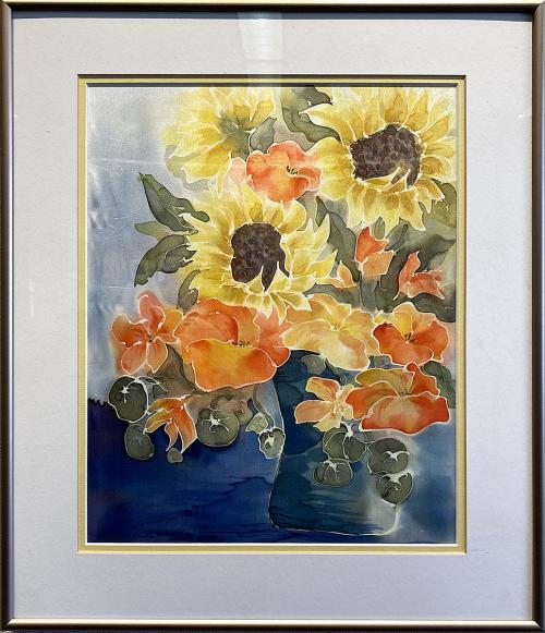 Jean Lawrence, Sunflower Vase, Dye Painting on Silk, $145