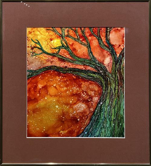 Kristin Lee Hager, Autumn Has Fallen, Alcohol Ink, $180