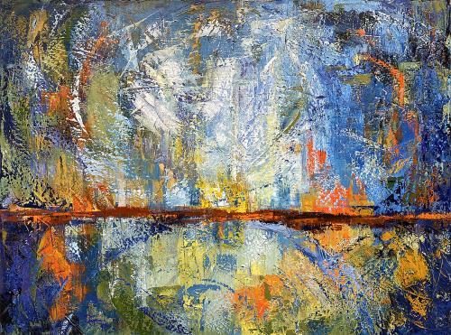 Rhoda Fleischman , Horizon 7 - Reflections of the Great Link, Oil in Cold Wax, $480
