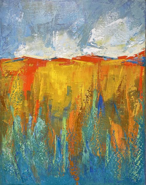 Rhoda Fleischman , Horizon 3 - Wellspring , Oil in Cold Wax, $240