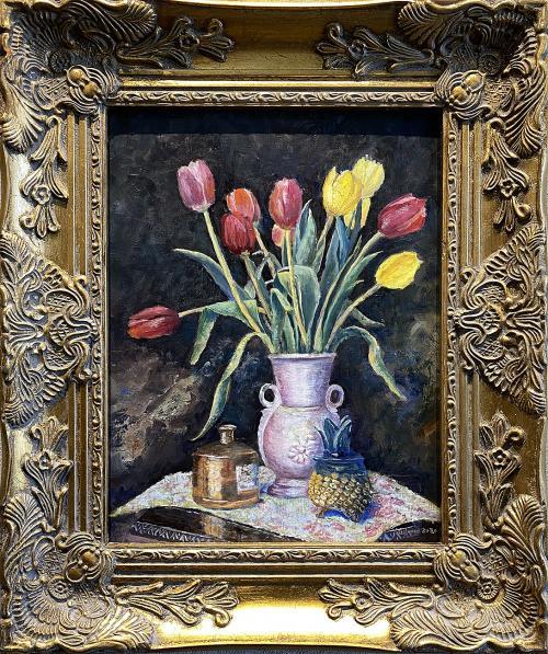 Steve Leishman, Bouquet of Tulips, Oil, $400